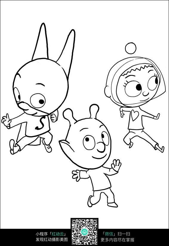 卡通跳舞的小熊手绘线稿图片