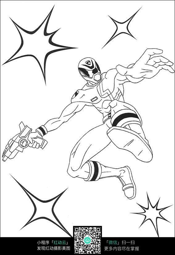 卡通跳跃的战士手绘线稿图片
