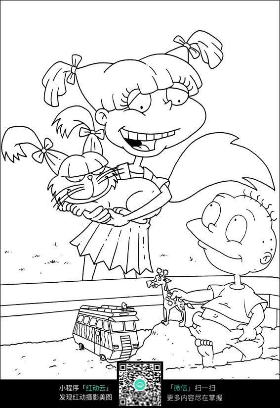 卡通玩耍的小孩手绘线稿图片
