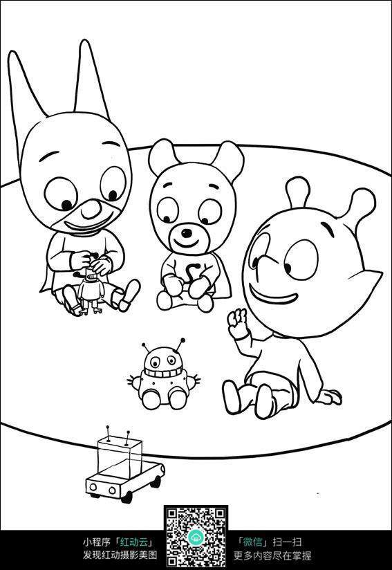 卡通玩玩具的小熊手绘线稿图片