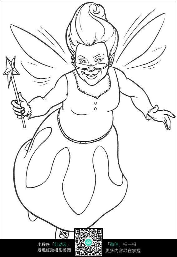 卡通仙女妈妈手绘线描图片