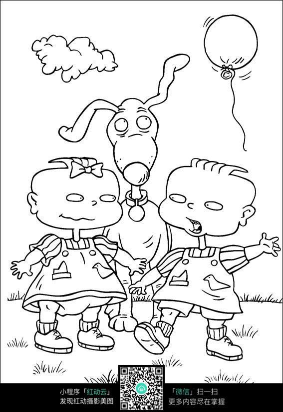 卡通小狗小朋友手绘线稿图片