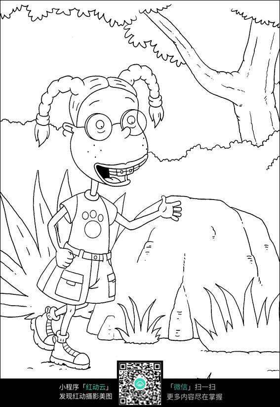 卡通小女孩手绘线稿图片_人物卡通图片