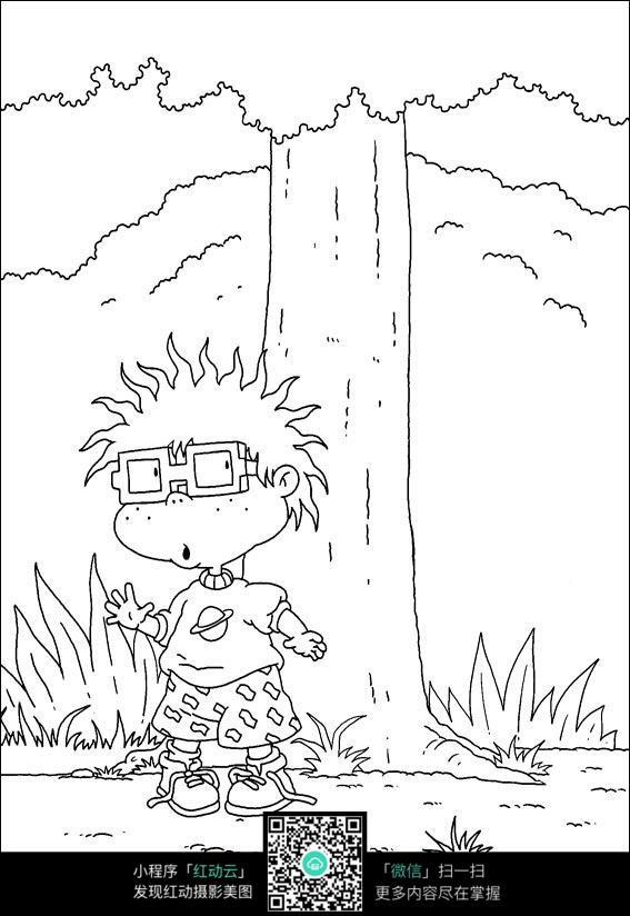卡通小朋友大树手绘线稿图片