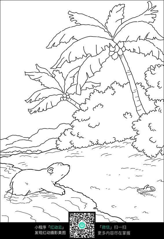 卡通小熊过河手绘线稿图片
