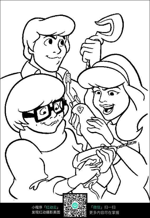 卡通修理工手绘线稿图片