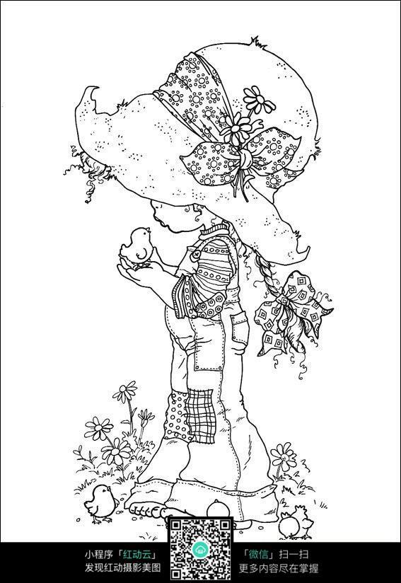 卡通养小鸡的小女孩手绘线稿图片