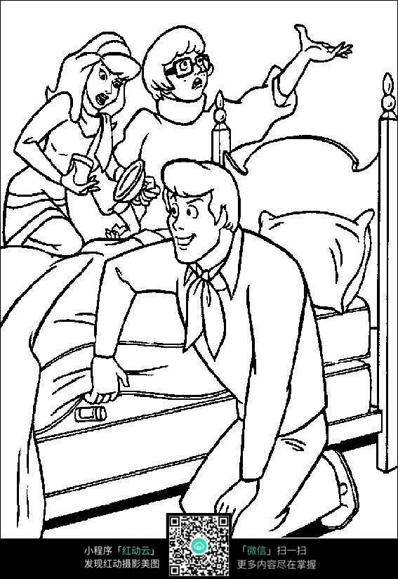 卡通一家人手绘线稿图片