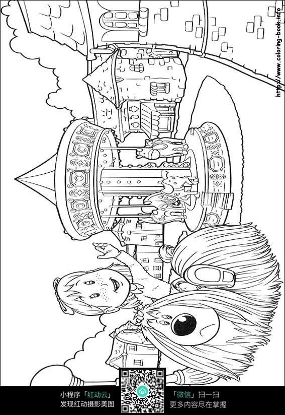 卡通游乐场小女孩小狗手绘线稿图片