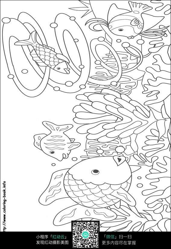 卡通鱼水草手绘线稿图片
