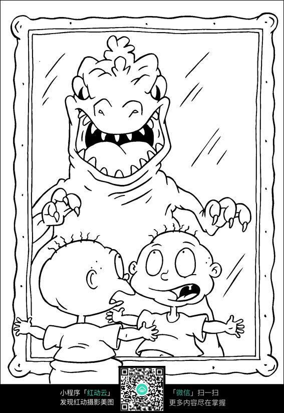 卡通照镜子的小朋友手绘线稿图片