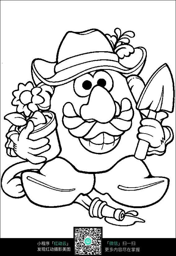 卡通种花的大头爷爷手绘线稿图片