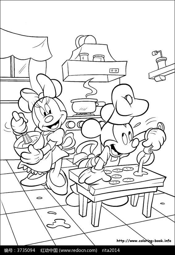 卡通做蛋糕的米老鼠手绘线稿图片