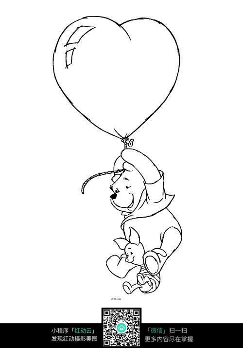 卡通坐心形热气球的小熊手绘线稿图片
