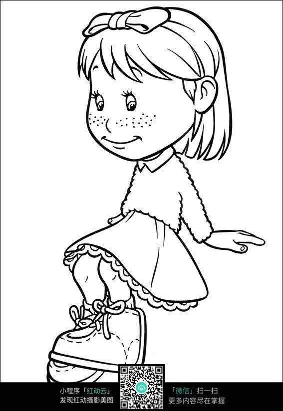 卡通坐着的小女孩手绘线稿图片