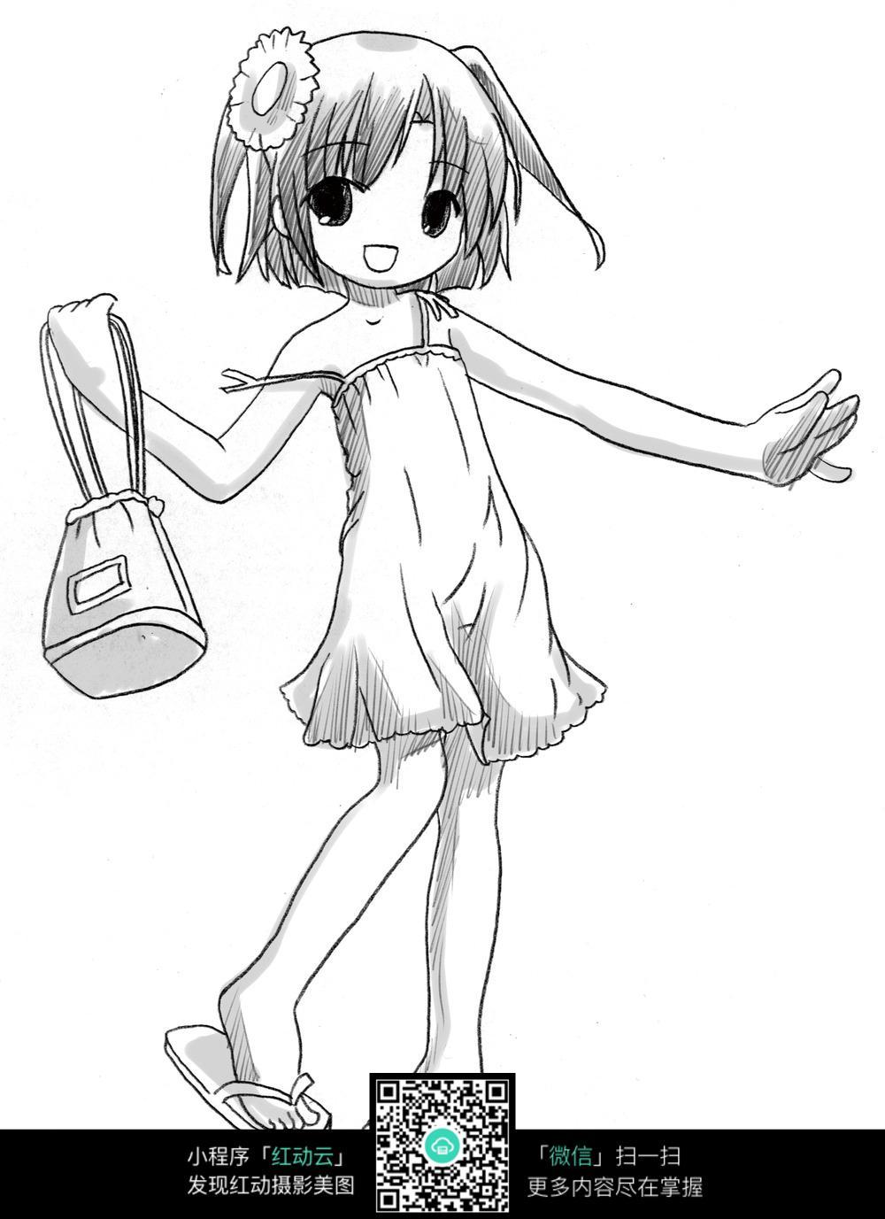 快乐女孩卡通手绘线稿图片