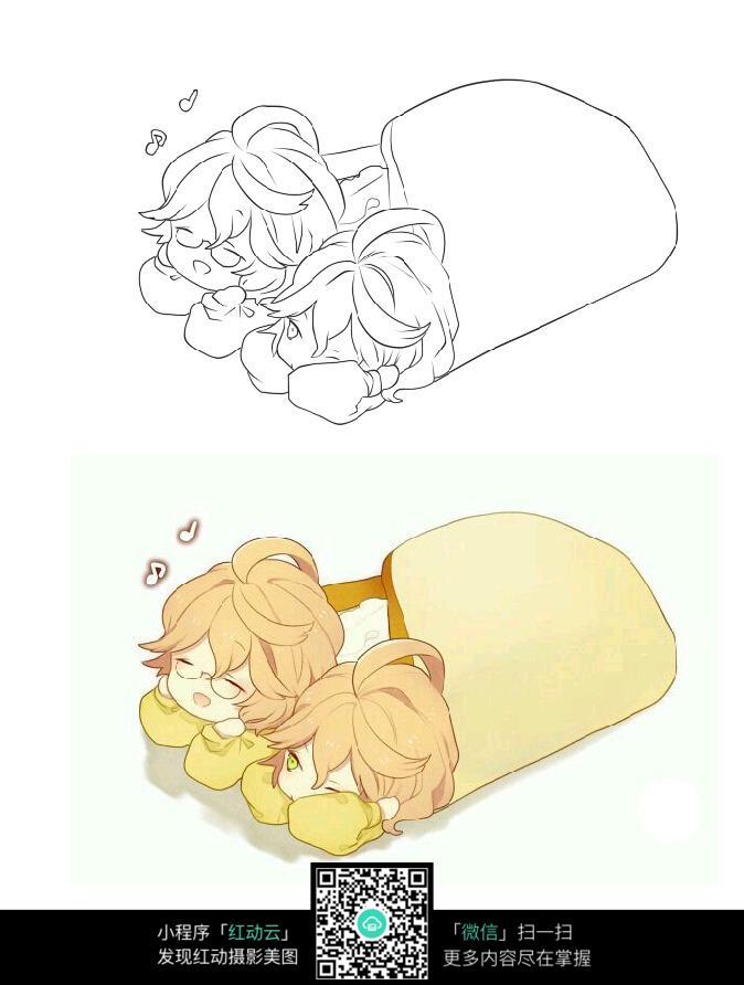 免费素材 图片素材 漫画插画 人物卡通 萌版睡觉娃娃