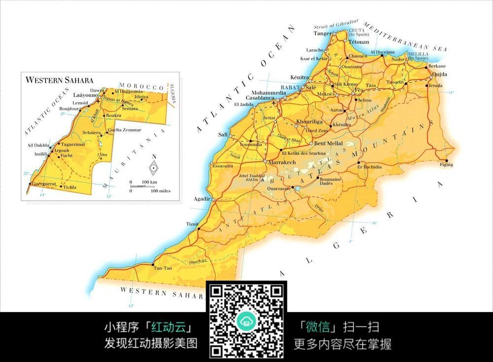 摩洛哥地图图片