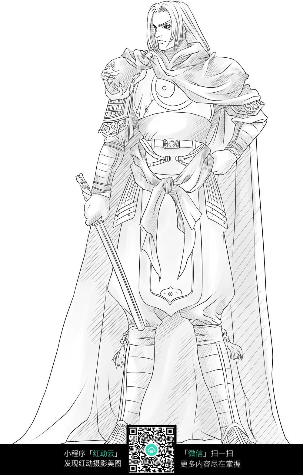 男子和剑卡通手绘线稿图片