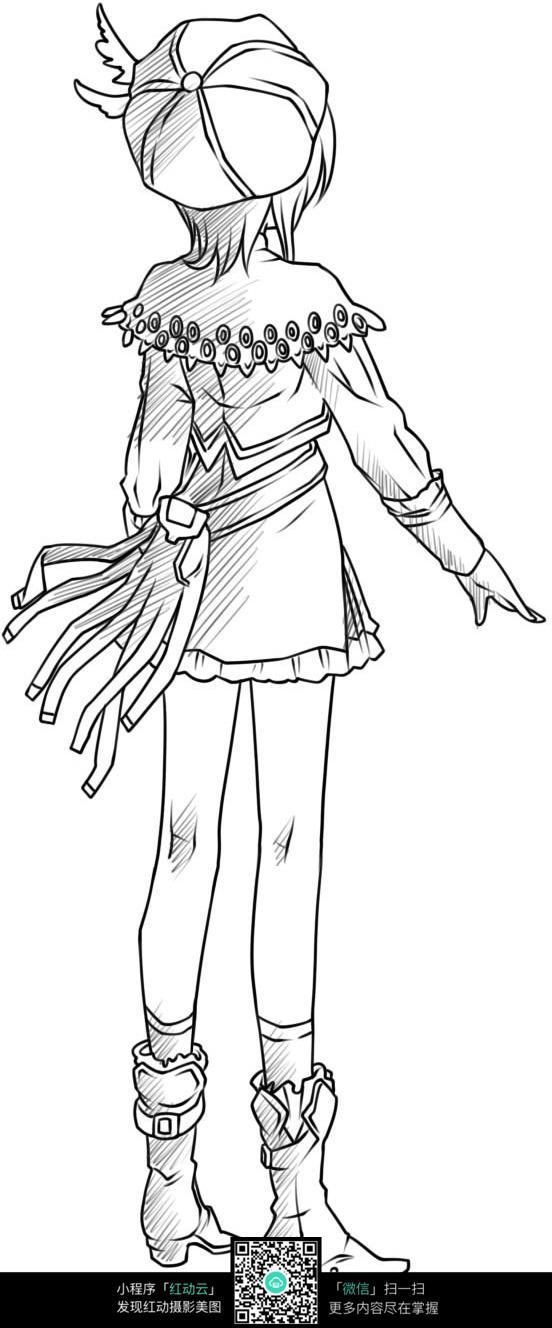 女孩背影卡通手绘线稿_人物卡通图片