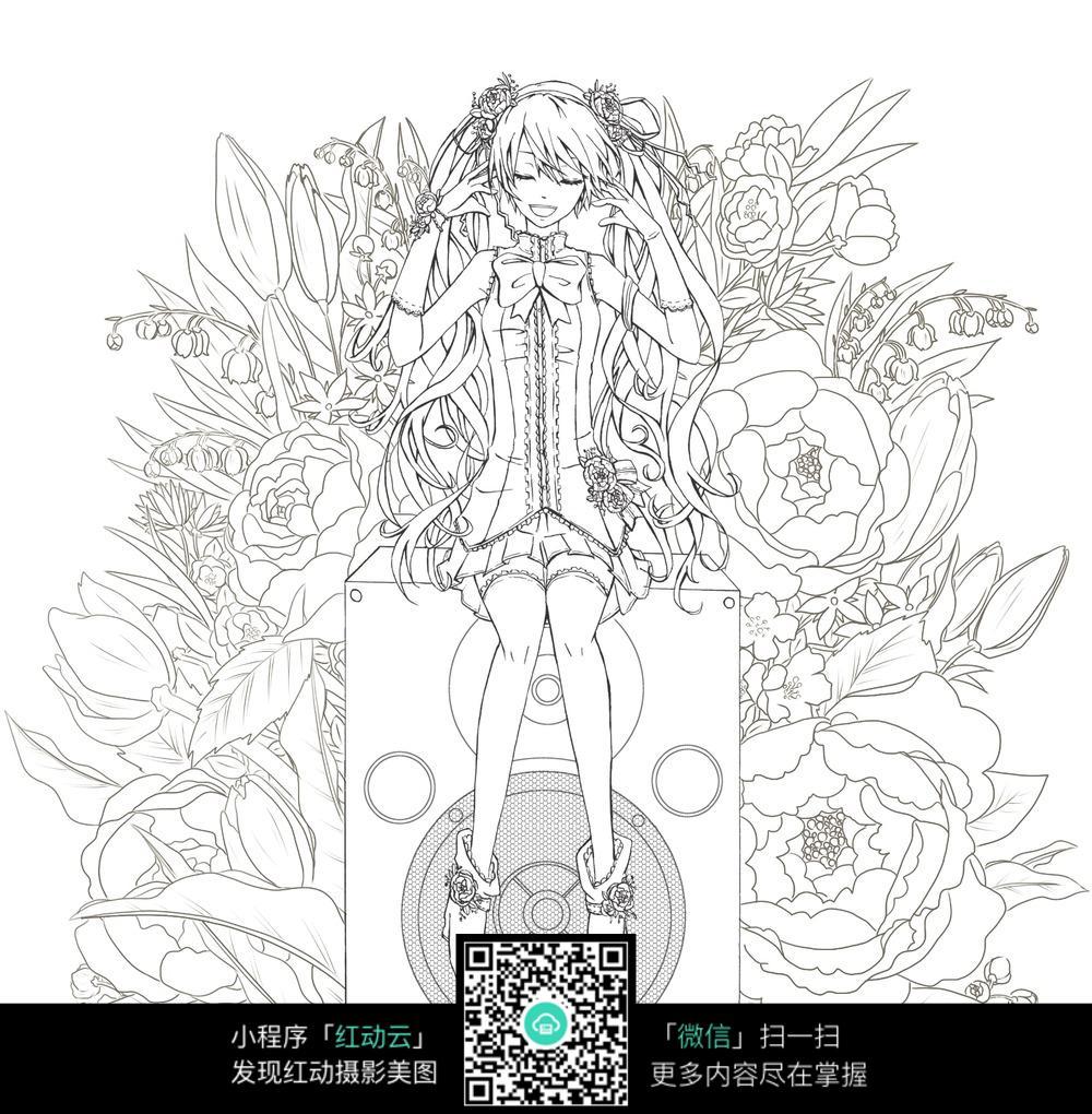 女孩和花朵卡通手绘线稿