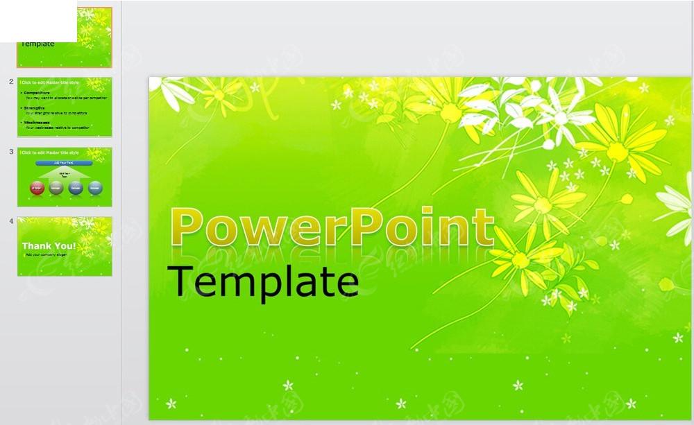 漂亮花纹绿色背景ppt模板免费下载_其他ppt素材图片
