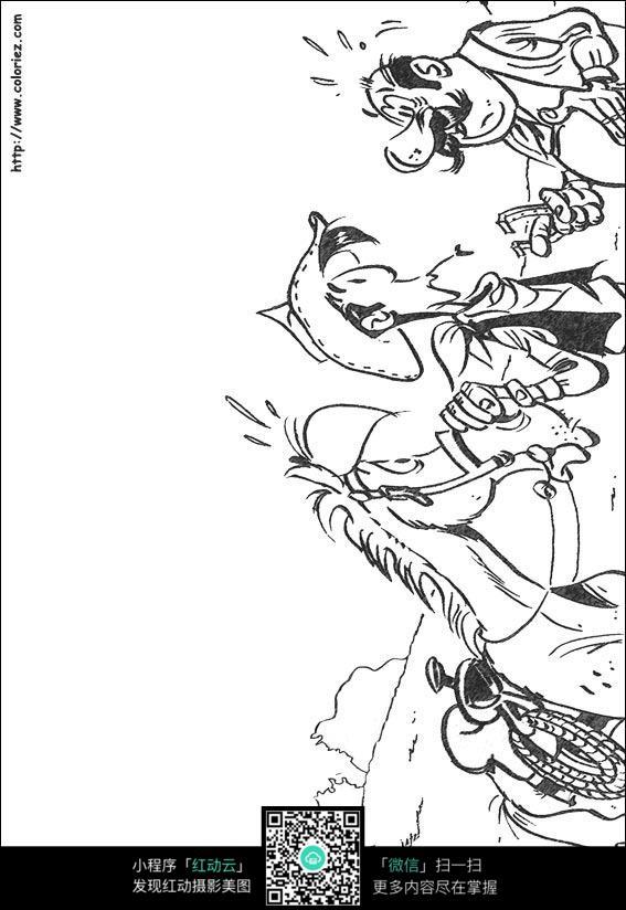 人和驴子卡通手绘线稿