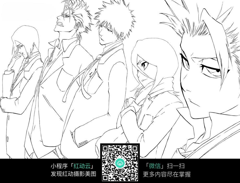日本少年漫画手稿_人物卡通图片