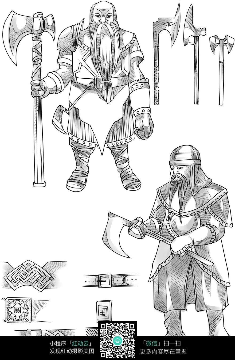 免费素材 图片素材 漫画插画 人物卡通 士兵和武器卡通手绘线稿
