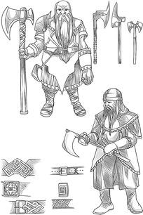 士兵卡通手绘线稿图片