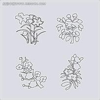 矢量植物花纹简笔画 204
