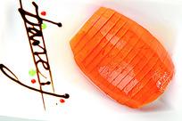 爽口的橙香木瓜菜品照片