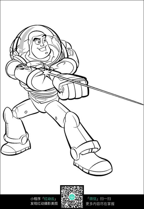 免费素材 图片素材 漫画插画 人物卡通 太空骑警巴斯光年黑白简笔画