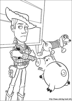 玩具总动员卡通人物黑白简笔画