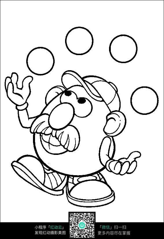 玩球的大头爷爷手绘线稿图片