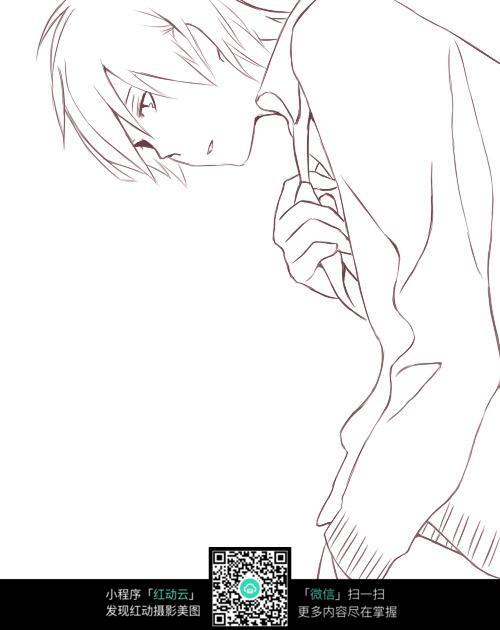 文雅的公子男生线描_人物卡通图片