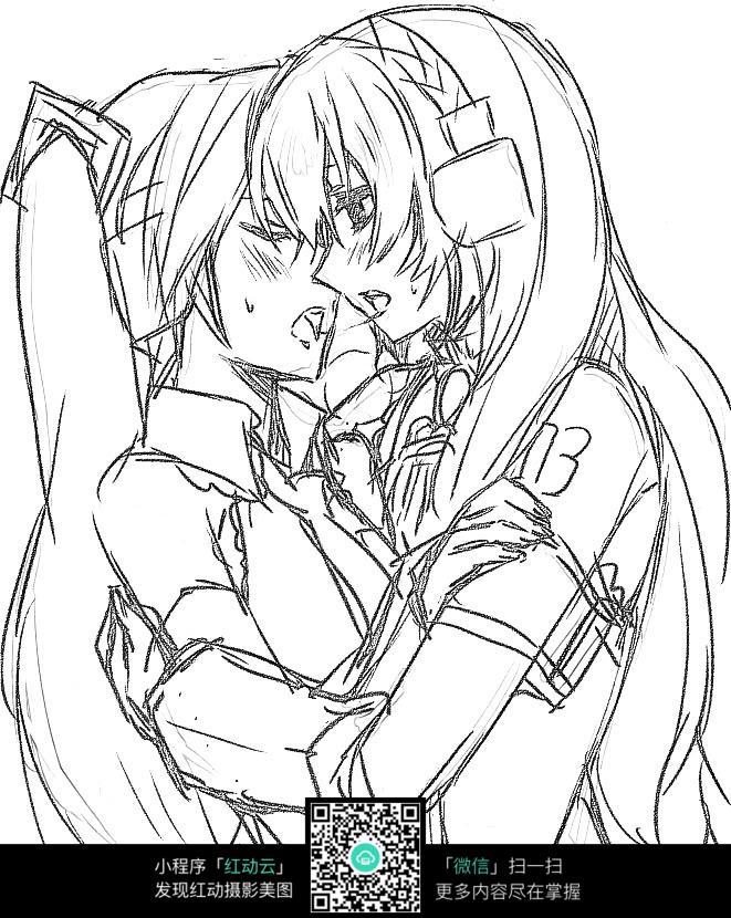 拥抱的女孩卡通手绘线稿图片