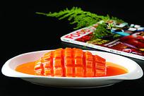 诱人的橙汁木瓜菜品照片