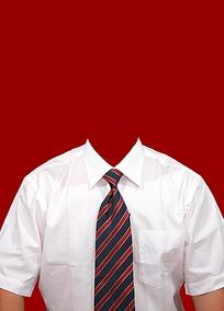 职业领带白衬衫证件照模板