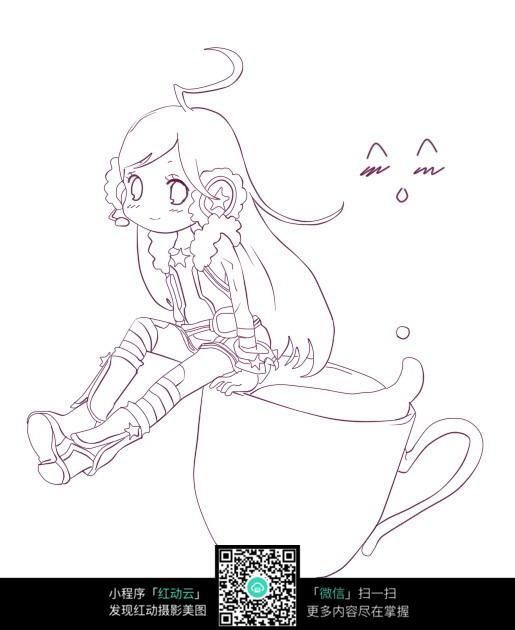 杯子和女孩卡通手绘线稿