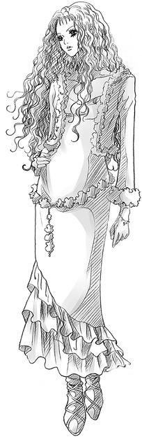 长发美女卡通手绘线稿