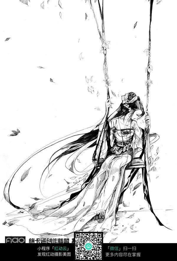 荡秋千的美女卡通手绘线稿