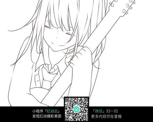 弹吉他的小女孩线描图片