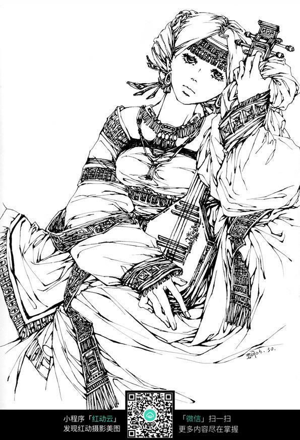 弹琵琶的女子卡通手绘线稿