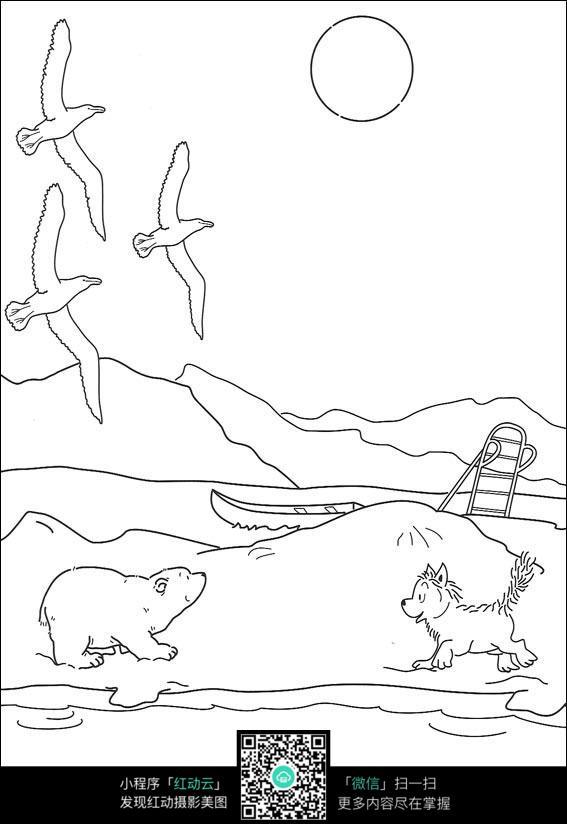飞鸟和小熊卡通手绘线稿
