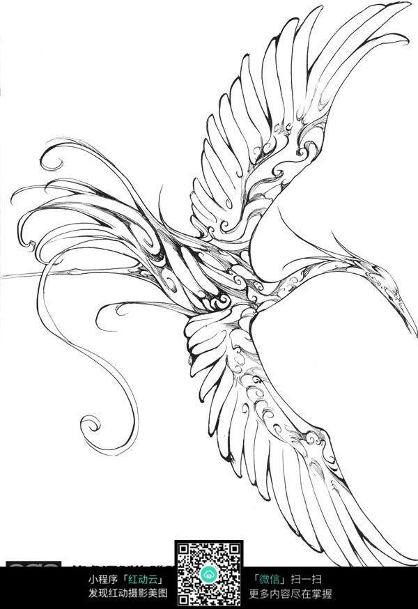 飞鸟卡通手绘线稿
