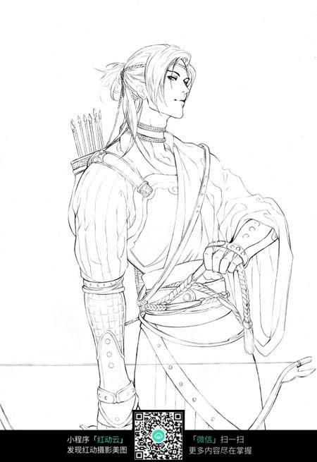 弓箭和男子卡通手绘线稿