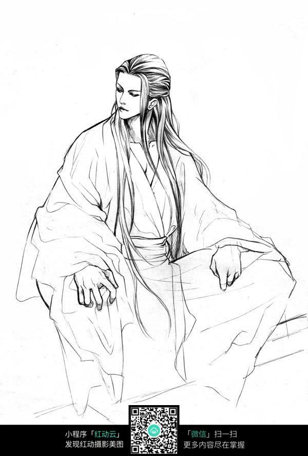 古装男子卡通手绘线稿图片