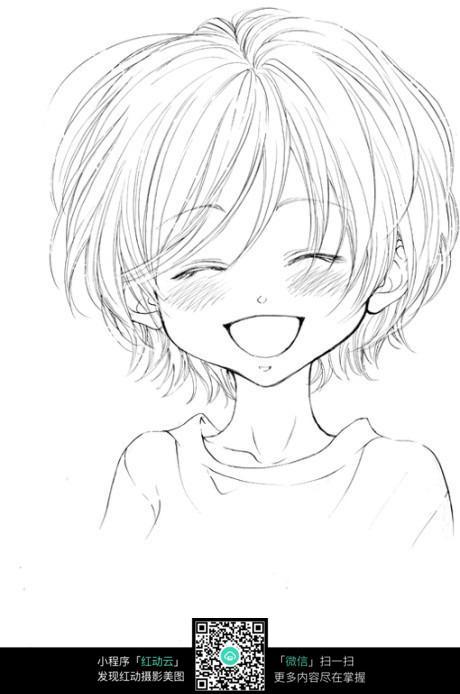 哈哈大笑的卡通女孩