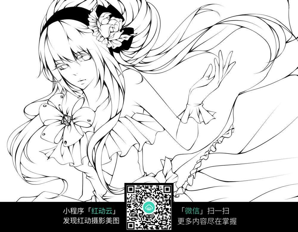 花朵和美女卡通手绘线稿